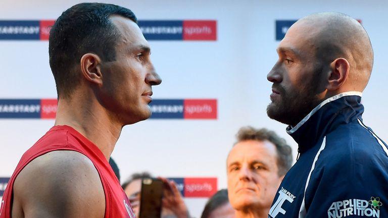Wladimir Klitschko of Ukraine and Tyson Fury of UK