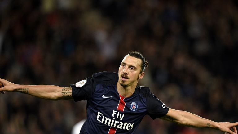 Zlatan Ibrahimovic celebrates after scoring for PSG v Toulouse in Ligue 1