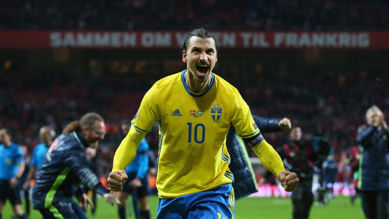 Zlatan Ibrahimovic of Sweden celebrates after the UEFA EURO 2016 Qualifier Play-Off Second Leg match between Denmark an