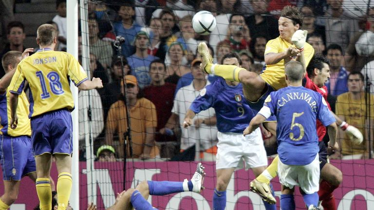 Ibrahimovic scored with an audacious backheel against Italy at Euro 2004