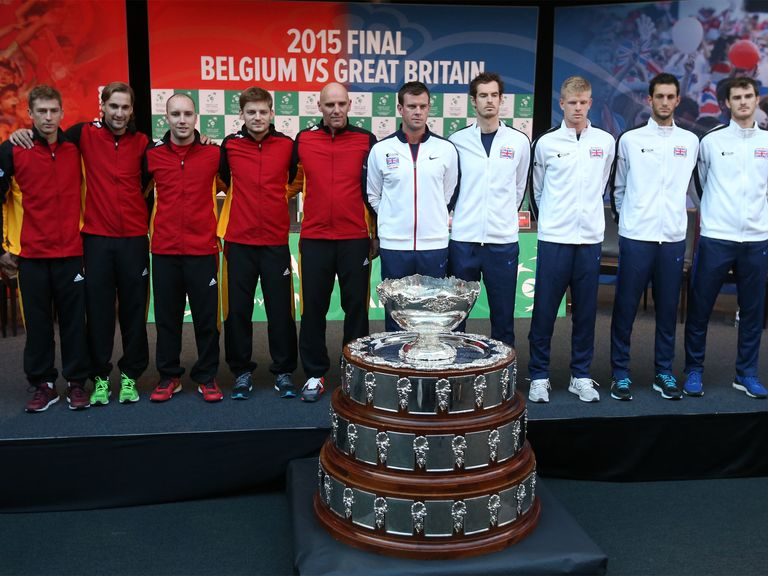 The  Davis Cup Finalists Belgium In Red And Great Britain In White Image Via Sportinglife Com