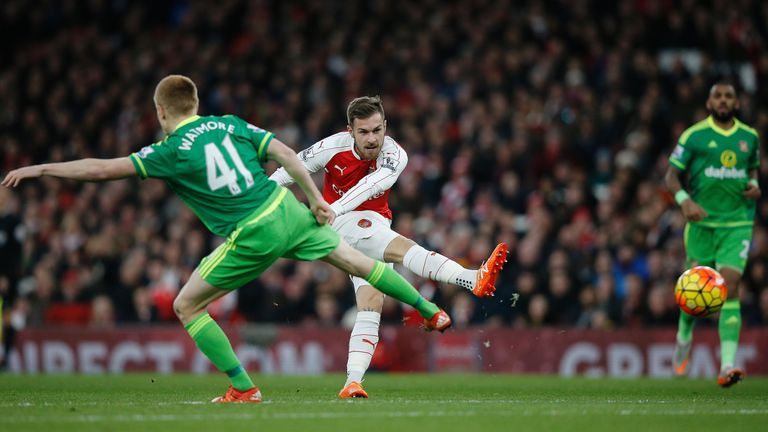 Aaron Ramsey (C) will look to make a central midfield position his own in Cazorla's absence