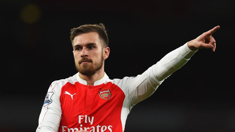 Aaron Ramsey of Arsenal gestures during the Barclays Premier League match between Arsenal and Sunderland at Emirates Stadiumon December 5