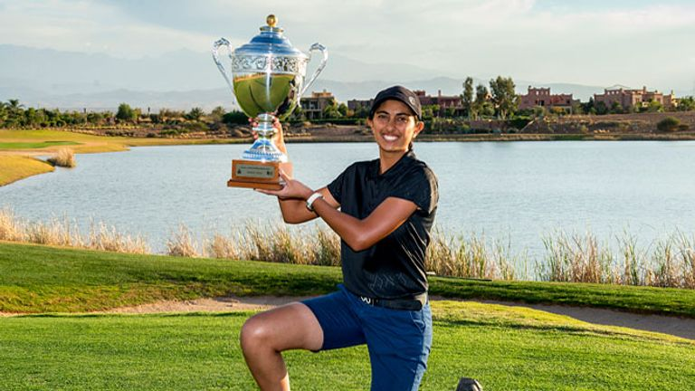Aditi Ashok poses with trophy after her historic Morocc triumph
