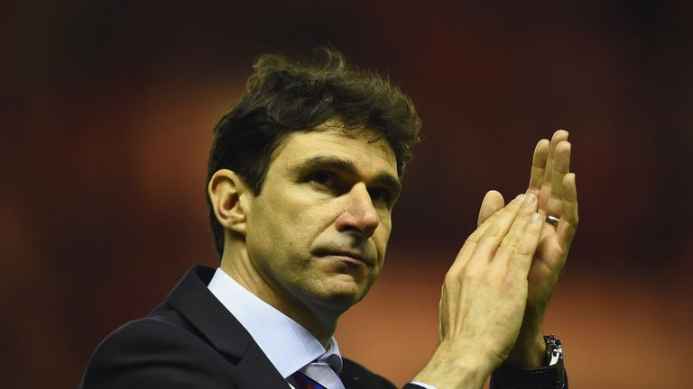 MIDDLESBROUGH, ENGLAND - MAY 15:  Aitor Karanka manager of Middlesbrough celebrates as they reach the final after the Sky Bet Championship Playoff semi fin