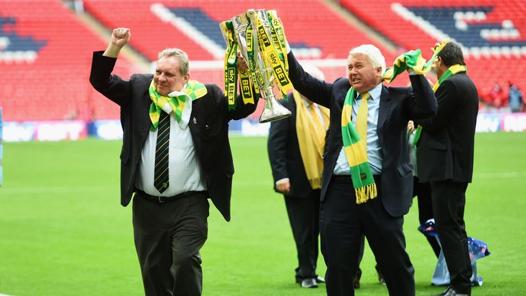 Norwich City chairman Alan Bowkett celebrates with the trophy after the Sky Bet Championship Playoff Final