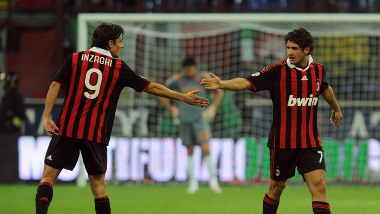 Alexandre Pato celebrates scoring for AC Milan with Filippo Inzaghi