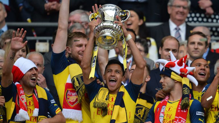 Alexis Sanchez celebrates winning the FA Cup with Arsenal