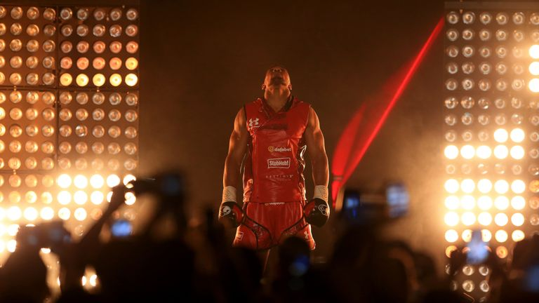 Anthony Joshua walks out for his fight with Dillian Whyte
