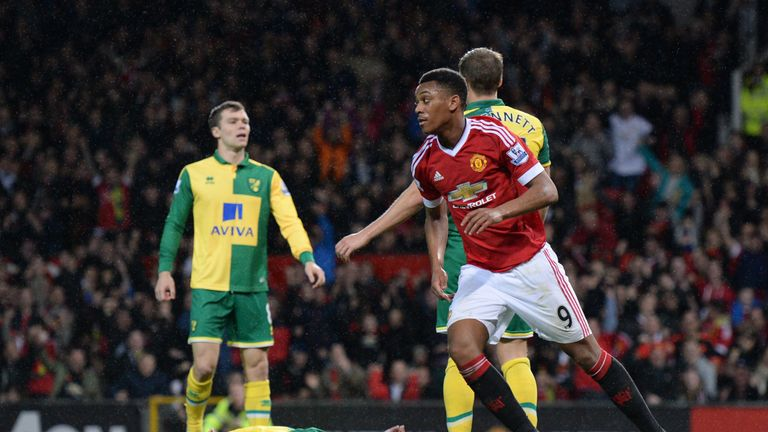 Manchester United's Anthony Martial celebrates after scoring their first goal against Norwich