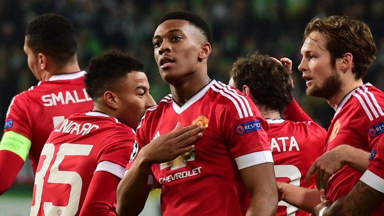 Anthony Martial goal celeb, Wolfsburg v Manchester United, Champions League