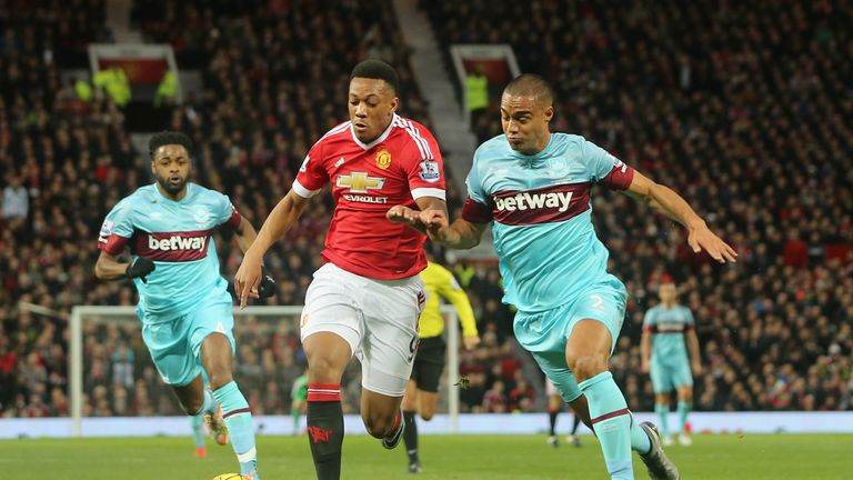 Anthony Martial tangles with Winston Reid