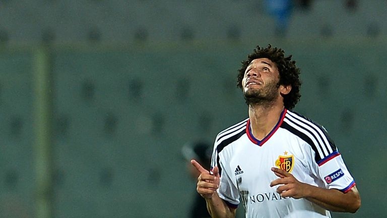 Basel's midfielder Mohamed Elneny celebrates after scoring during the UEFA Europa League football match between F