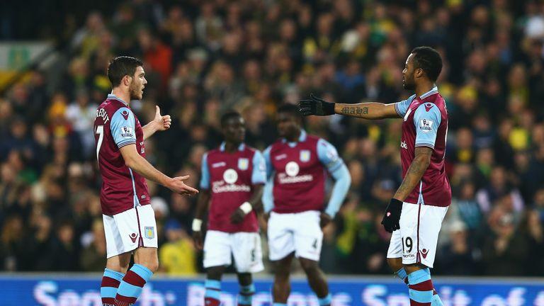 Jordan Veretout (L) and Jordan Ayew (R) of Aston Villa react after conceding Norwich City's first goal