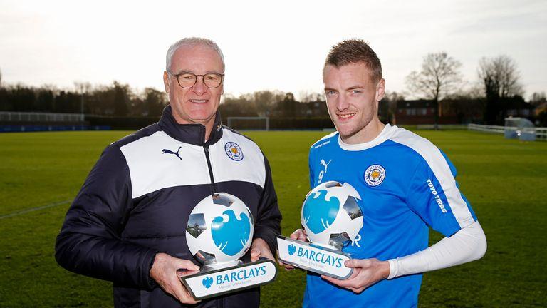 Leicester City manager Claudio Ranieri and Jamie Vardy