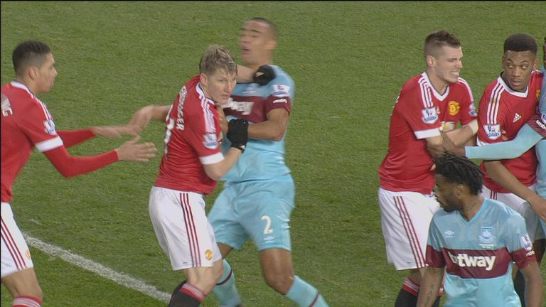 Schweinsteiger appeared to elbow Reid in the throat