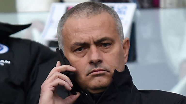 Jose Mourinho sits in the stands during the Sky Bet Championship match between Brighton and Middlesbrough