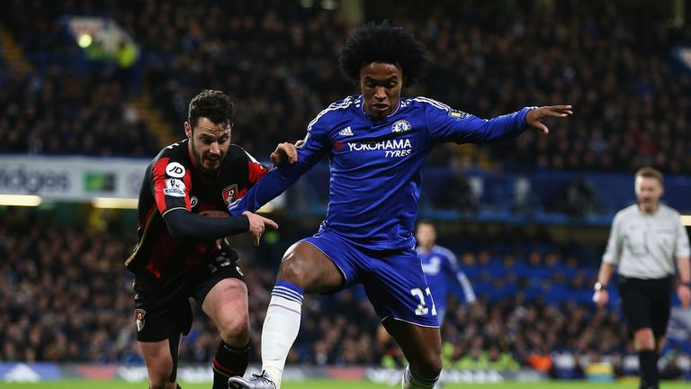 Adam Smith and WIllian battle for the ball