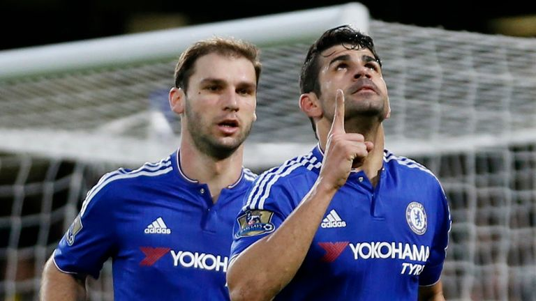 Chelsea's Diego Costa (right) celebrates scoring their first goal of the game with Branislav Ivanovic