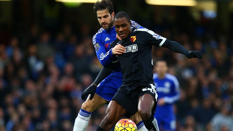 Odion Ighalo holds off Cesc Fabregas