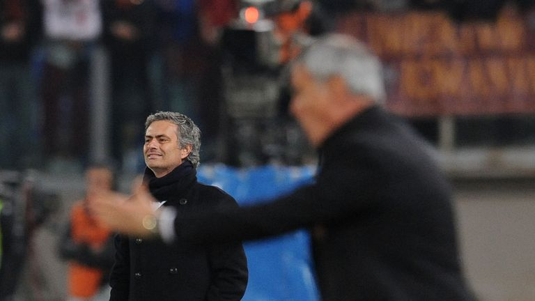 Jose Mourinho and Claudio Ranieri during the Serie A match against AS Roma and Inter Milan at Stadio Olimpico on March 2010