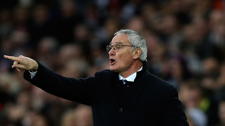 Leicester manager Claudio Ranieri gives instructions to his side