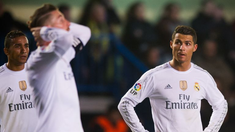Danilo and Cristiano Ronaldo of Real Madrid CF look dejected during the La Liga match at Villarreal