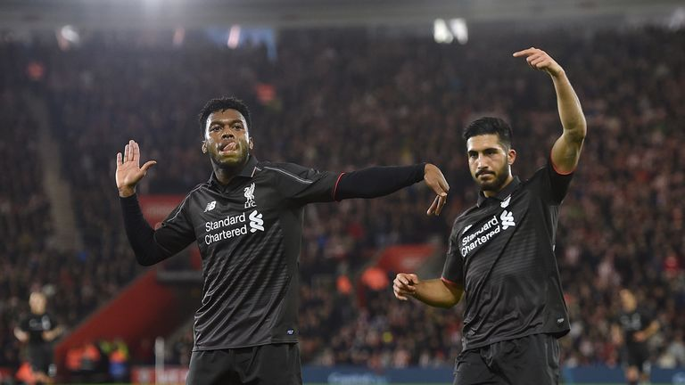 Daniel Sturridge celebrates scoring Liverpool's equaliser