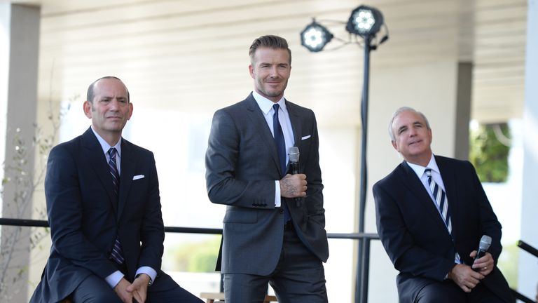 Dan Garber (L) has given his backing to David Beckham's stadium plans for franchise Miami Beckham United
