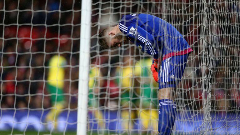 David De Gea of Manchester United shows his dejection after  Norwich score a second