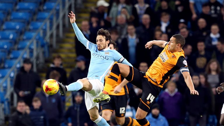 David Silva, Jake Livermore, Manchester City v Hull City, Capital One Cup