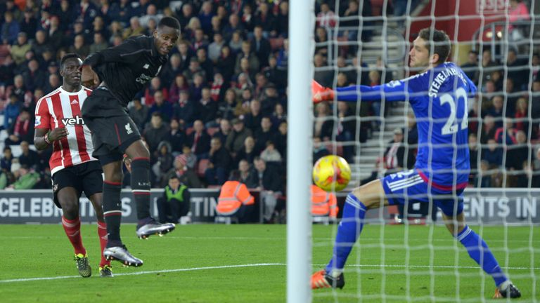 Divock Origi scores Liverpool's sixth goal of the game during the Capital One Cup quarter-final at Southampton