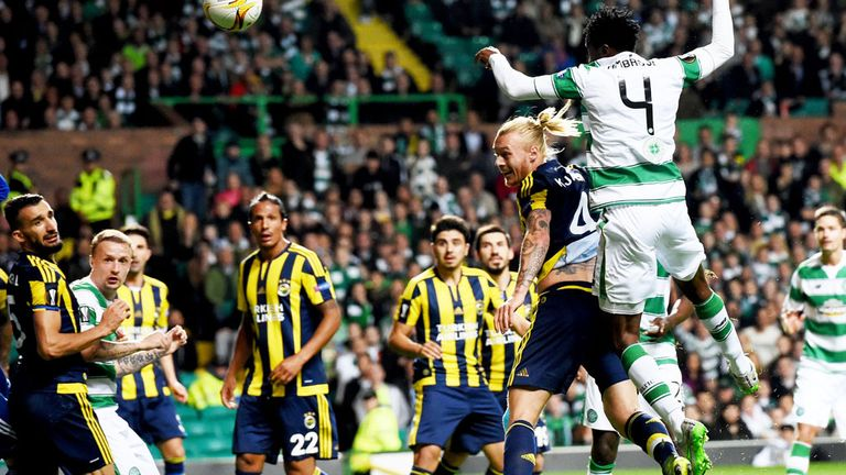 Action from the 2-2 draw between Celtic and Fenerbahce in Glasgow