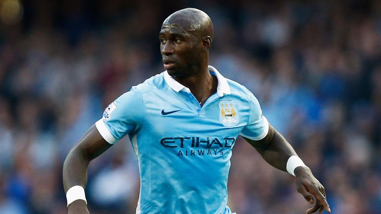 Eliaquim Mangala of Manchester City runs with the ball