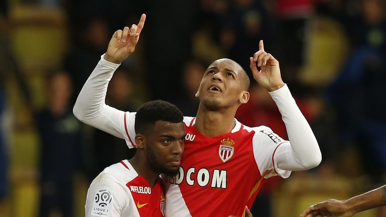 Fabinho (r) scored the only goal of the game as Monaco beat St Etienne