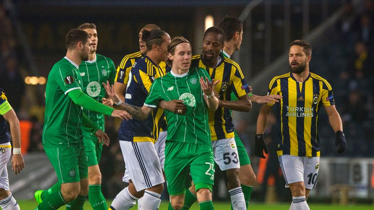 Stefan Johansen reacts after clash with Diego