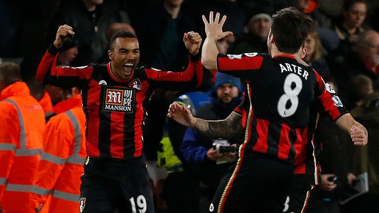 Bournemouth midfielder Junior Stanislas celebrates scoring against Manchester United in 2015