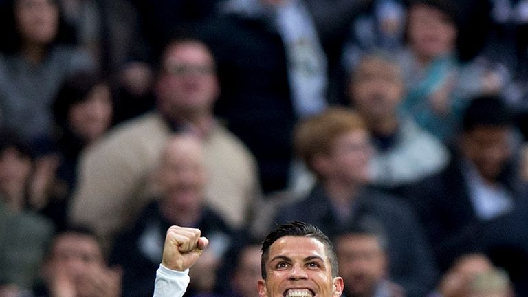 Cristiano Ronaldo of Real Madrid celebrates scoring their second goal during the La Liga match against Real Sociedad