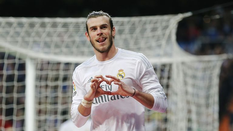 Gareth Balecelebrates after scoring his team's eighth goal during the La Liga match between Real Madrid and Rayo Vallecano at Santiago Bernabeu
