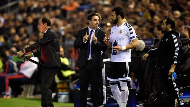 Gary Neville, Alvaro Negredo, Valencia v Lyon, Champions League