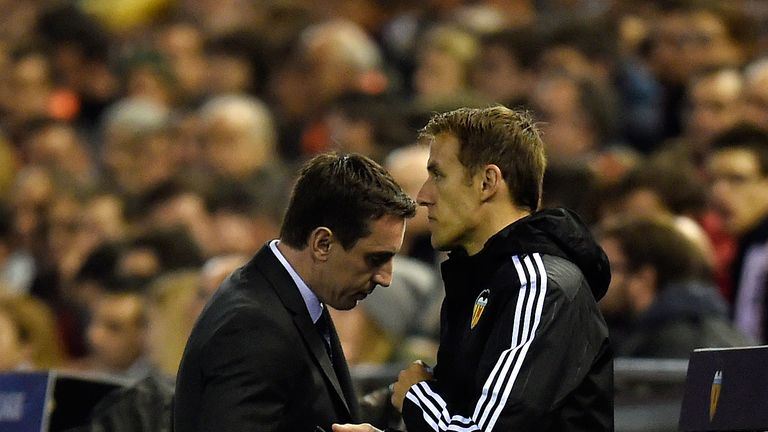 Gary Neville endured a frustrating night at the Mestalla