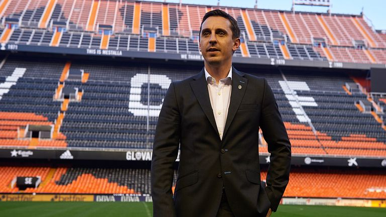 Gary Neville was officially unveiled to the media on Thursday