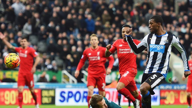 Georginio Wijnaldum scores Newcastle's second goal against Liverpool last Sunday