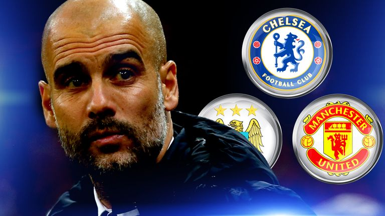 Pep Guardiola has been linked to Man City, Chelsea and Man Utd