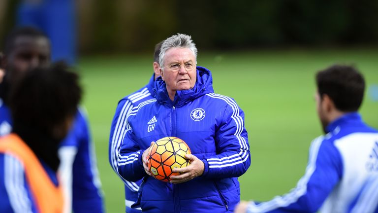 Chelsea's Guus Hiddink during a training session