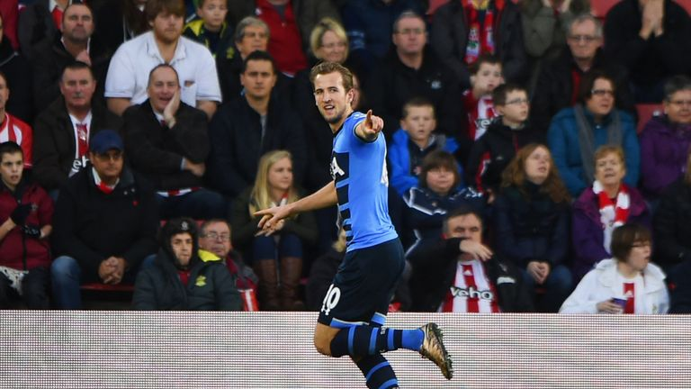 Harry Kane of Tottenham celebrates as he scores their first goal  against Southampton