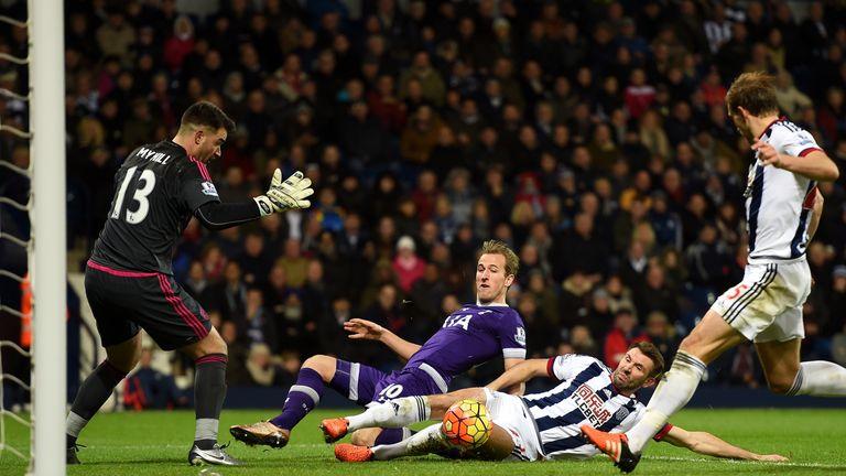 Harry Kane's goalbound effort was cleared by Craig Dawson
