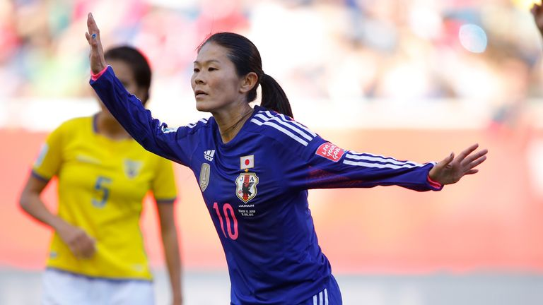 Homare Sawa in action for Japan at the 2015 World Cup