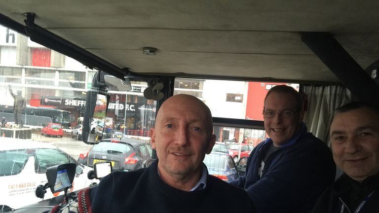 Ollie, Larry and Mick wave goodbye to Sheffield - and hello to Blackburn.