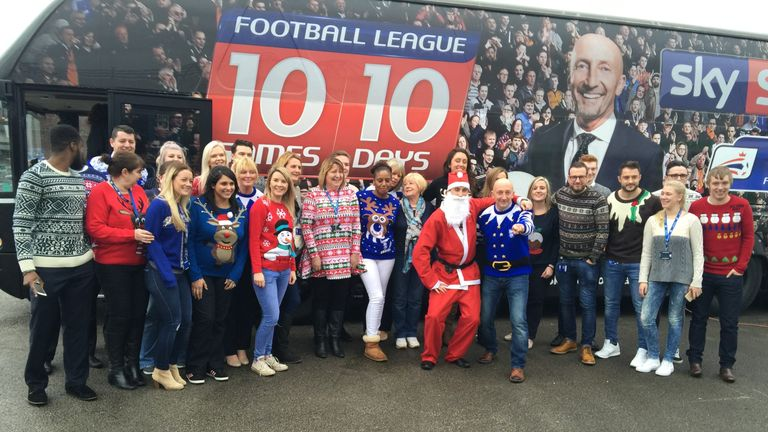 Ian Holloway gets a welcome from the Birmingham city staff Christmas party as he arrives for their 10 in 10 fixture on Friday afternoon.
